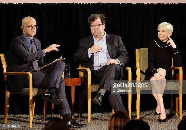panel moderator Logan Hill speaks with director Kenneth Lonergan and actress Michelle Williams during the TimesTalks Featuring Casey Affleck Michelle...