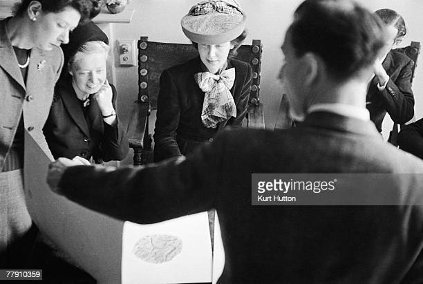 A panel of fashion experts judge the entries in a textile design competition organised by Czech businessman Zika Ascher 11th May 1946 From second...