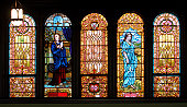 Panel of Five Stained Glass Windows