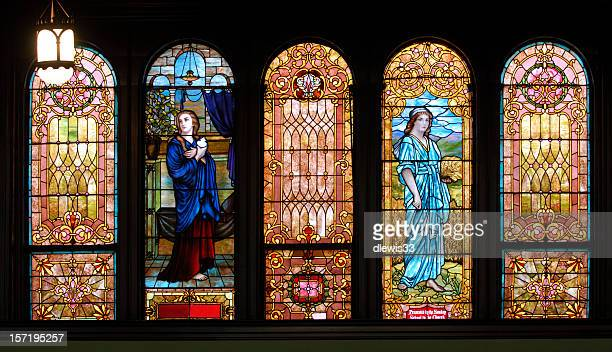 panel of five stained glass windows - stained glass stock pictures, royalty-free photos & images