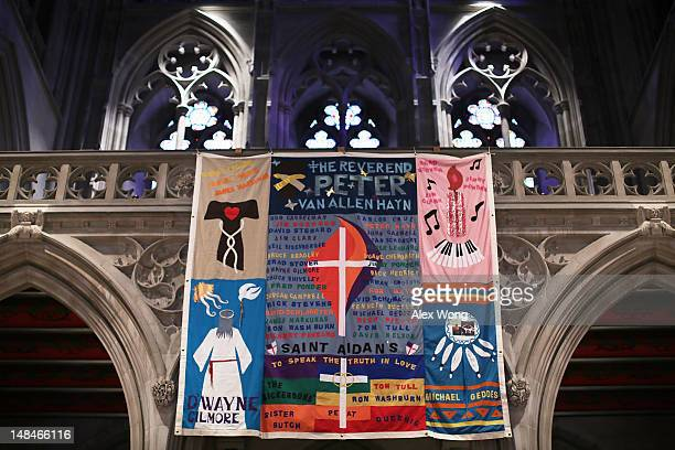 A panel of the AIDS Memorial Quilt is on display at the National Cathedral July 17 2012 in Washington DC The AIDS Memorial Quilt is on display...