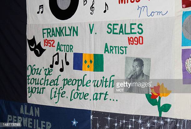 A panel of the AIDS Memorial Quilt on display at the Washington National Cathedral on July 18 2012 Since the project began 25 years ago the quilt has...