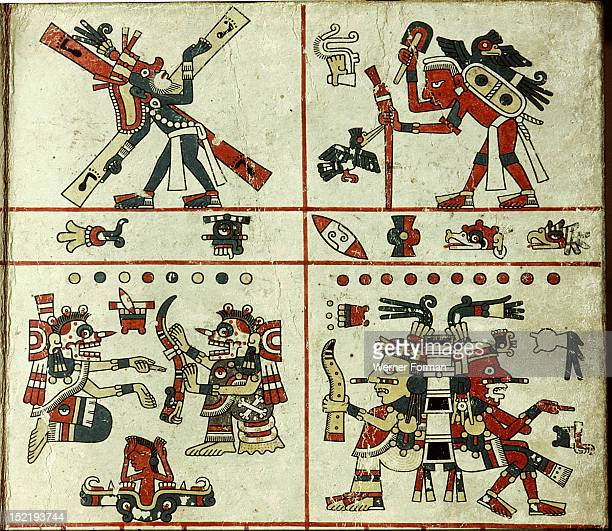 Panel of the Codex Fejervary Mayer, To the left of the top register is Yacatecuhtli, Lord Nose, the patron god of merchants. He is carrying the...