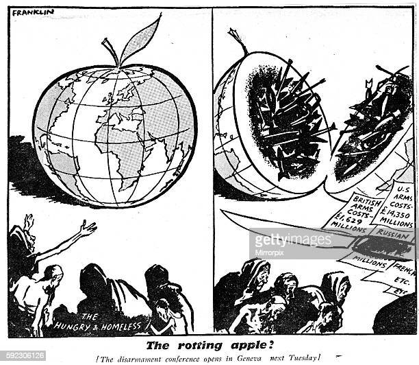 Panel one the Hungry and homeless gather around the world shaped like an apple Panel two The world splits in two to show nuclear missiles bombs tanks...