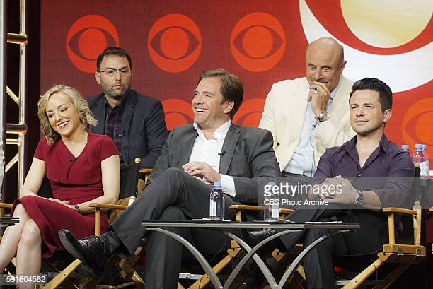 Panel session for the new CBS show BULL at the TCA presentations at the Beverly Hilton Hotel in Los Angeles August 10 2016 Pictured Back row Mark...