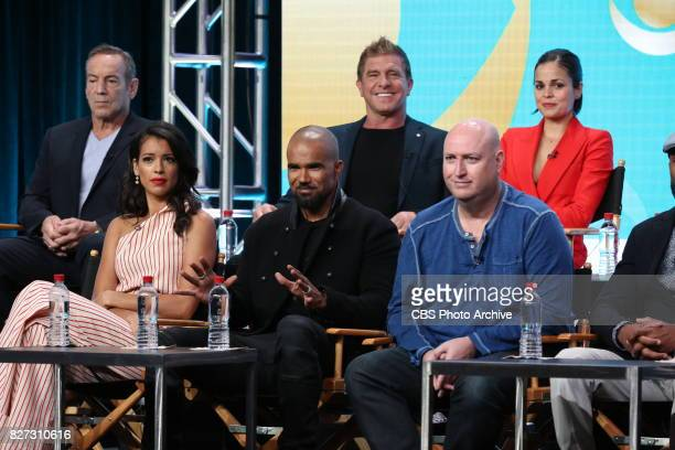 Panel session for the new CBS show, S.W.A.T. At the TCA presentations at the Beverly Hilton Hotel in Los Angeles, August 1, 2017. Pictured: Front row...