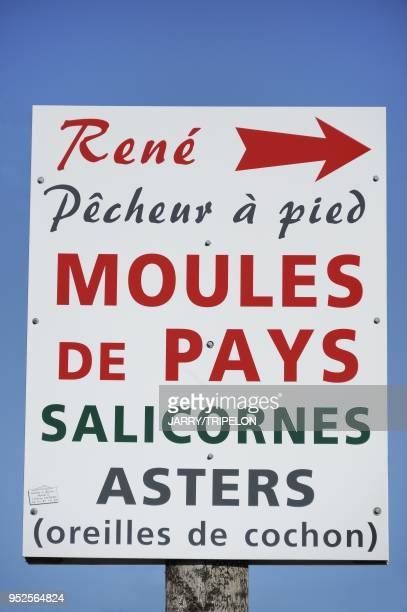 A panel showing the fisherman's fishing products in the town of Le Crotoy Baie de Somme and Cote d'Opale area Somme department Picardie region France