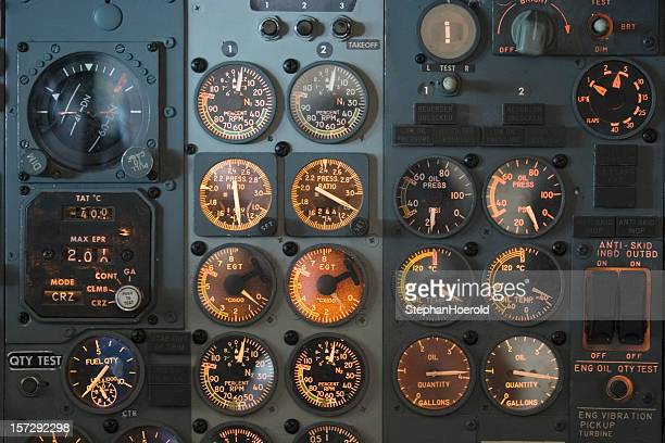Panel with gauges and dials in an airplane cockpit