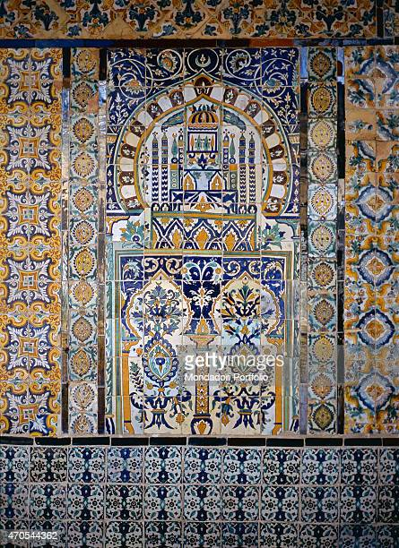 'Panel with maiolica tiles by Aghlabid craftmen 16291692 17th Century polychrome maiolica Tunisia Kairouan Whole artwork view The polycrhome maiolica...