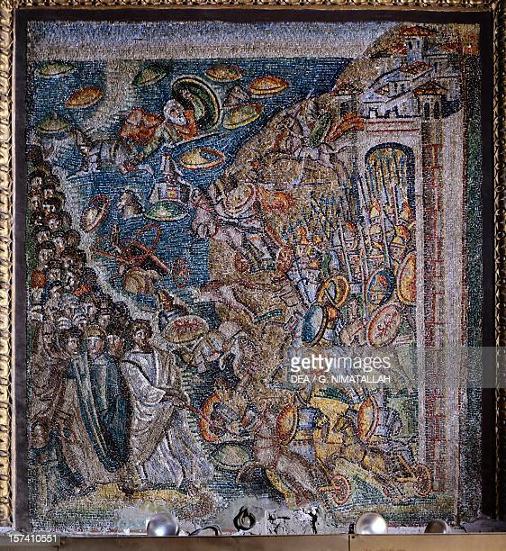 Panel with mosaic depicting the Crossing of the Red Sea central nave Basilica of Santa Maria Maggiore Rome Italy 5th century
