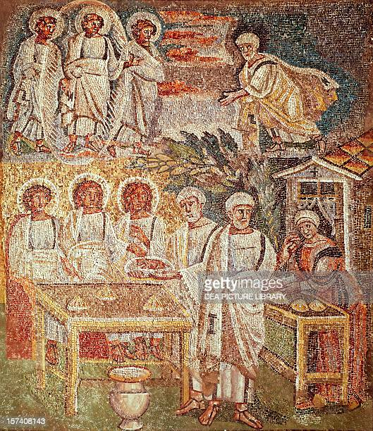 Panel with mosaic depicting the hospitality of Abraham central nave Basilica of Santa Maria Maggiore Rome Italy 5th century