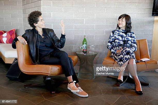 Panelist and Artist Julie Mehretu and Associate Curator of Contemporary Art at the Los Angeles County Museum of Art Christine Y Kim speak during...