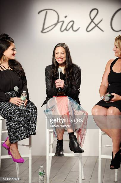 Panelist and fashion stylist Stacy London speaks onstage during the DiaCo fashion show and industry panel at the CURVYcon at Metropolitan Pavilion...