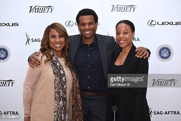Panelist Cassandra Butcher of Fox Searchlight Tendo Nafenda of Disney and Alana Mayo of Paramount pose for a photo at the 2nd Annual ICON MANN...