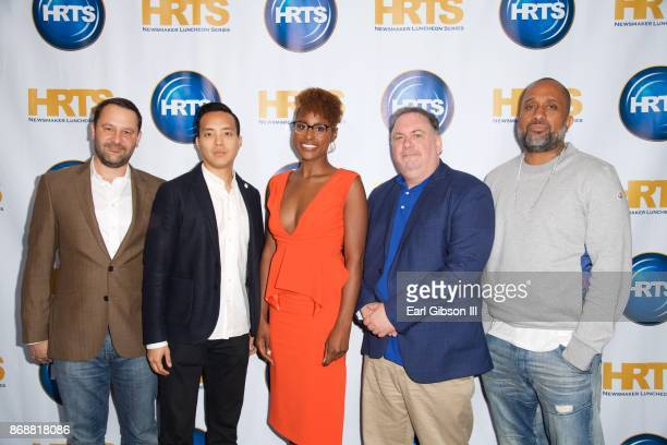 Panelist Dan Fogelman Alan Yang Issa Rae Bruce Miller and Kenya Barris attend HRTS Hosts Annual Hitmakers Luncheon at The Beverly Hilton Hotel on...