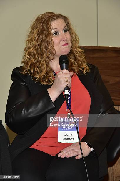 Panelist Julie James speaks at BroadwayCon 2017 at The Jacob K. Javits Convention Center on January 28, 2017 in New York City.