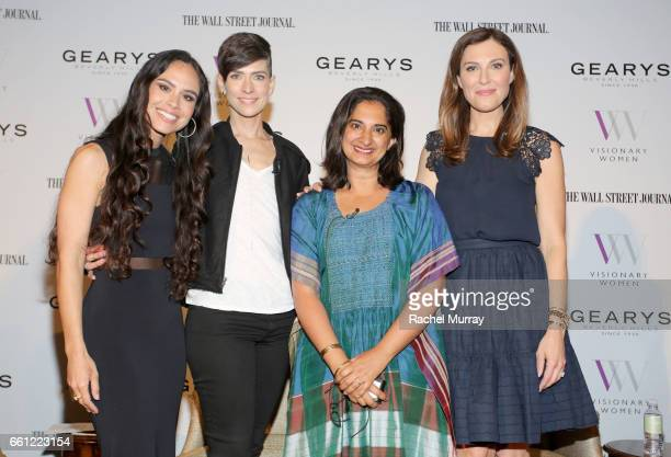 Panelist Kimberly Snyder Samantha Paige Mallika Chopra and Moderator Thea Andrews pose onstage during the Visionary Women's Salon Mind Body and Soul...