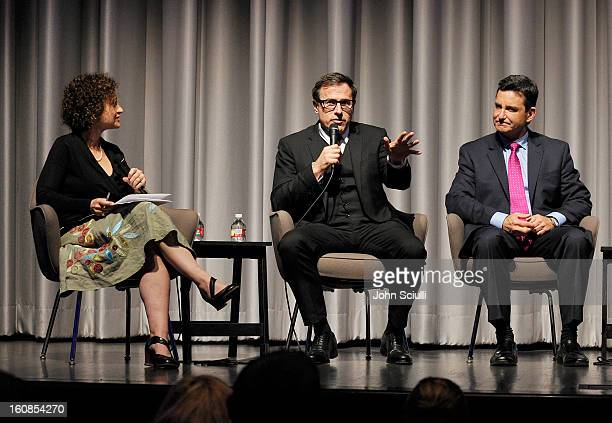 Panelists Alex Cohen David O Russell and Dr Bruce Hensel discuss removing the stigma of mental illness at Museum Of Tolerance on February 6 2013 in...