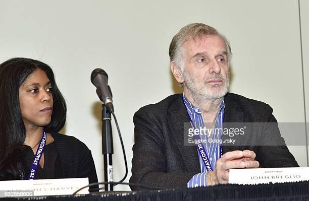 Panelists Alia Harvey Jones and John Breglio speak at BroadwayCon 2017 at The Jacob K. Javits Convention Center on January 27, 2017 in New York City.