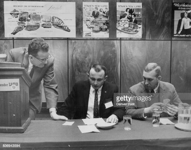 """Panelists At """"Youth Speaks"""" Program Of National Lamb Feeders From left are Chairman John Breckenridge of Twin Falls, Idaho; Walter Miller, feeder..."""