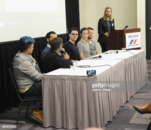 Panelists Bobak Ferdowsi Naren Shankar Cas Anvar Steven Strait Cara Gee and Kyle Hill attend the Science Of The Expanse Panel held at Sheraton...