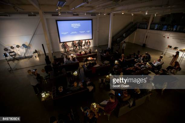 Panelists Bronwyn Cosgrave Amanda Altree Franklin Leonard and Janet Brown CEO of FilmBuff at Autograph Collection Hotels' exclusive screening of...