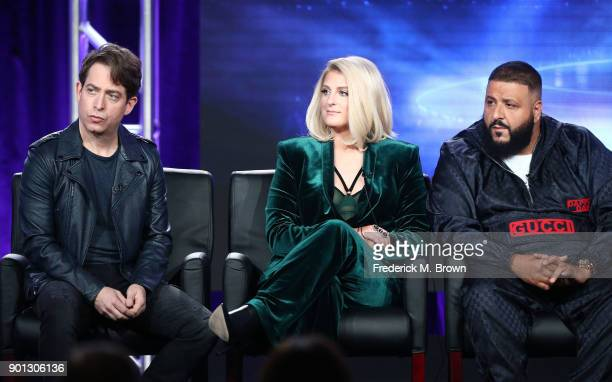Panelists Charlie Walk Meghan Trainor and DJ Khaled of the television show The Four speak onstage during the FOX portion of the 2018 Winter...