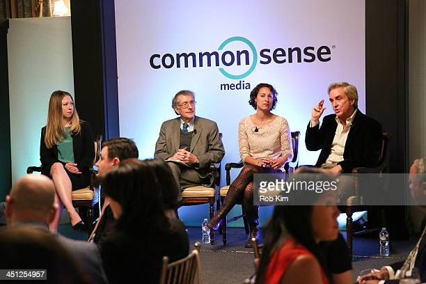 Panelists Chelsea Clinton Howard Gardner Emily Bazelon and Common Sense Media CEO James Steyer attend MeanSpirited by Mistake Raising Caring Kids in...