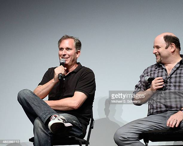 "Panelists, comedian Wayne Federman and actor Jason Alexander speak during their appearance at the Q & A for Tribeca Films' ""Misery Loves Comedy"" at..."