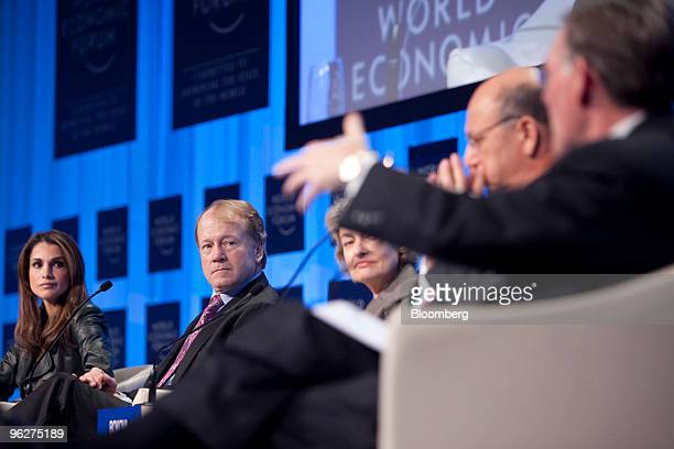 Panelists from left Rania AlAbdullah queen of Jordan John Chambers chairman of Cisco Systems Inc Irina Bokova directorgeneral of the United Nations...