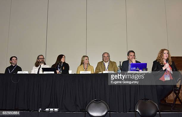 Panelists Joey Monda Michael John Warren Dori Berinstein Bonnie Comley Stewart F Lane Matt Hoffman and Julie James speak at BroadwayCon 2017 at The...