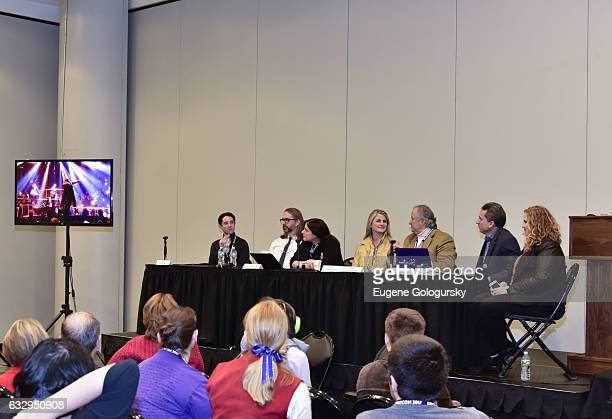 Panelists Joey Monda, Michael John Warren, Dori Berinstein, Bonnie Comley, Stewart F. Lane, Matt Hoffman and Julie James speak at BroadwayCon 2017 at...