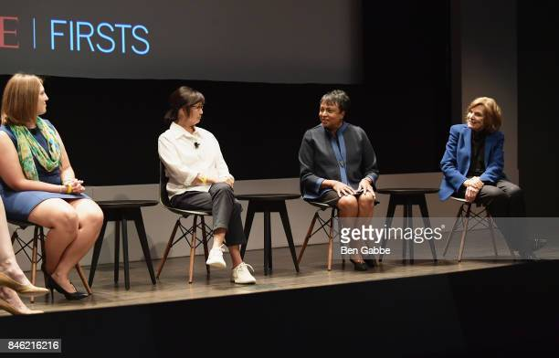 Panelists Kathryn Smith Maya Lin Carla Hayden Sylvia Earle speak onstage during TIME Celebrates FIRSTS on September 12 2017 in New York City