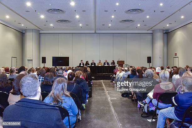 Panelists Ken Davenport, Alia Harvey Jones, John Breglio, Mitch Weiss, Stewart F. Lane and Stacey Mindich speak at BroadwayCon 2017 at The Jacob K....