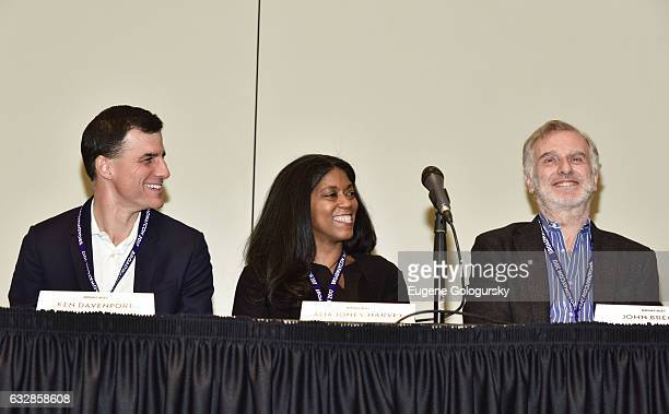 Panelists Ken Davenport, Alia Harvey Jones, John Breglio speak at BroadwayCon 2017 at The Jacob K. Javits Convention Center on January 27, 2017 in...