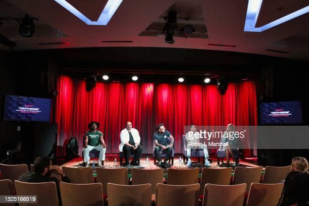 "Panelists Major, Darryl Wakefield, Austyn Wyche, Kosine and Carla Earle attend the Grammy Museum & Musicare ""Truth Serum"" Screening and Panel..."