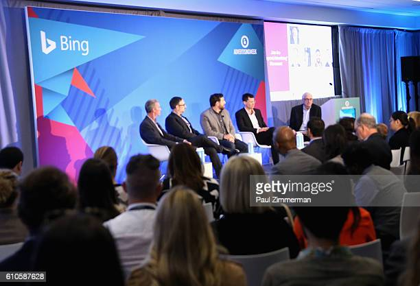 Panelists Michael Donnelly Adam Shlachter Jeff Rossi Mitchell Reichgut and moderator Jerry Wind speak onstage at the Don't Call it a Phone Marketers'...