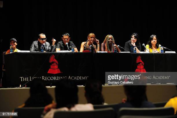 Panelists Miguelito Khriz Angel Lili Estefan Lucrecia Alih Jey and Aimee Duenas attend the Latin GRAMMY in the Schools at Miami Coral Park Senior...