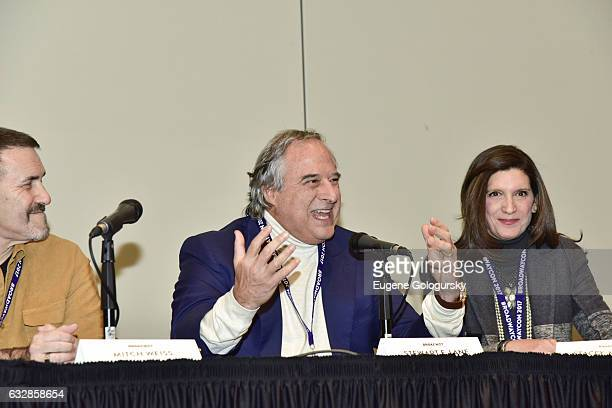 Panelists Mitch Weiss, Stewart F. Lane and Stacey Mindich speak at BroadwayCon 2017 at The Jacob K. Javits Convention Center on January 27, 2017 in...