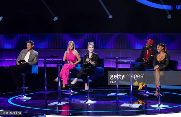 Panelists Nick Lachey, Cheryl Hines, Kelly Osbourne, Arsenio Hall and Adrienne Bailon-Houghton in the series premiere episode of I CAN SEE YOUR VOICE...