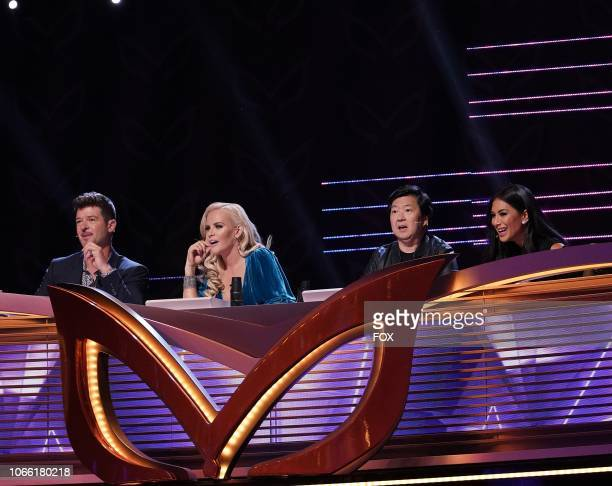 Panelists Robin Thicke Jenny McCarthy Ken Jeong and Nicole Scherzinger in THE MASKED SINGER premiering Wednesday Jan 2 on FOX
