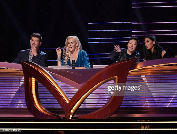 Panelists Robin Thicke Jenny McCarthy Ken Jeong and Nicole Scherzinger in the New Masks on the Block episode of THE MASKED SINGER airing Wednesday...