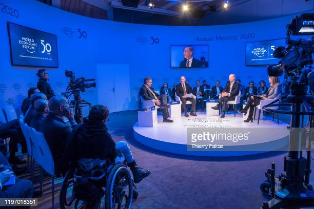 Panelists run a debate at the 50th World Economic Forum in Davos