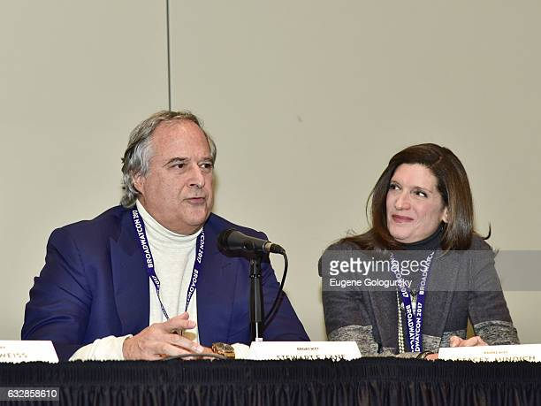 Panelists Stewart F. Lane and Stacey Mindich speak at BroadwayCon 2017 at The Jacob K. Javits Convention Center on January 27, 2017 in New York City.