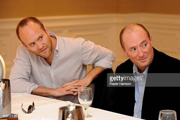 Panelists Stuart Hazeldene and Chris Markuswriters Breakthrough Brit Week Writing For The Studios Panel Discussion at The London Hotel on November 5...