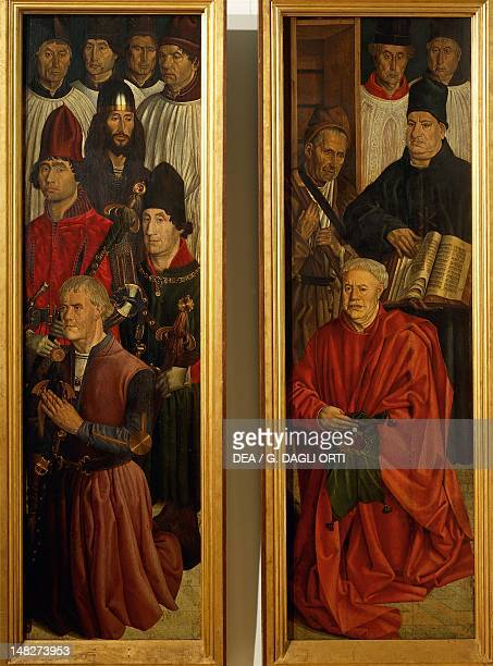 Panels of Knights and Panel of the Relic, detail from the Altarpiece of St Vincent, 1460-1470, by Nuno Goncalves . ; Lisbon, Museu Nacional De Arte...