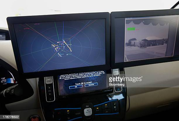 LCD panels show laser sensor and camera sensor information on the Nissan Autonomous Drive Leaf electric vehicle seen on a test track during the...