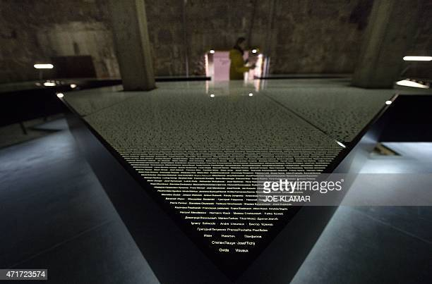 Panels with names of all the people known to have been killed at Mauthausen are pictured at former Nazi concentration camp Mauthausen northern...