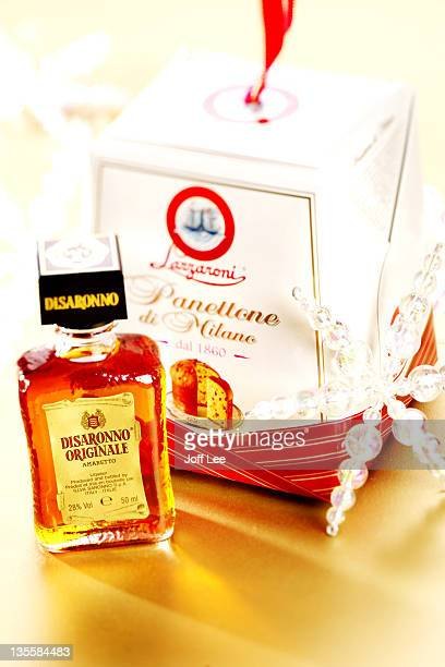 Panettone and bottle of Disaronno amaretto liqueur