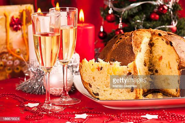 Panettone dessert on Christmas red table